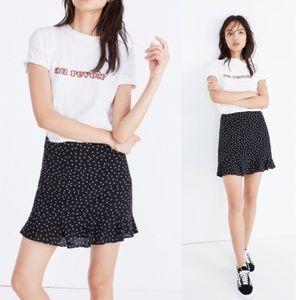 Madewell Black Silk Ruffle Edge Skirt Star Scatter